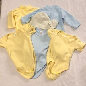 Baby bundle of blue and yellow onesies and hat